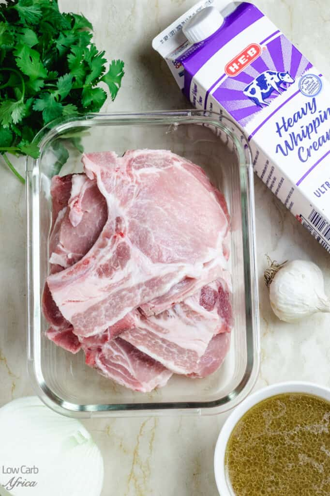 picture of pork chops, onions, heavy cream