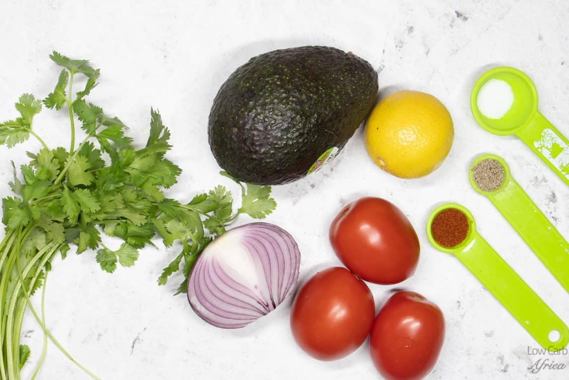 onions, tomato, avocado and cilantro