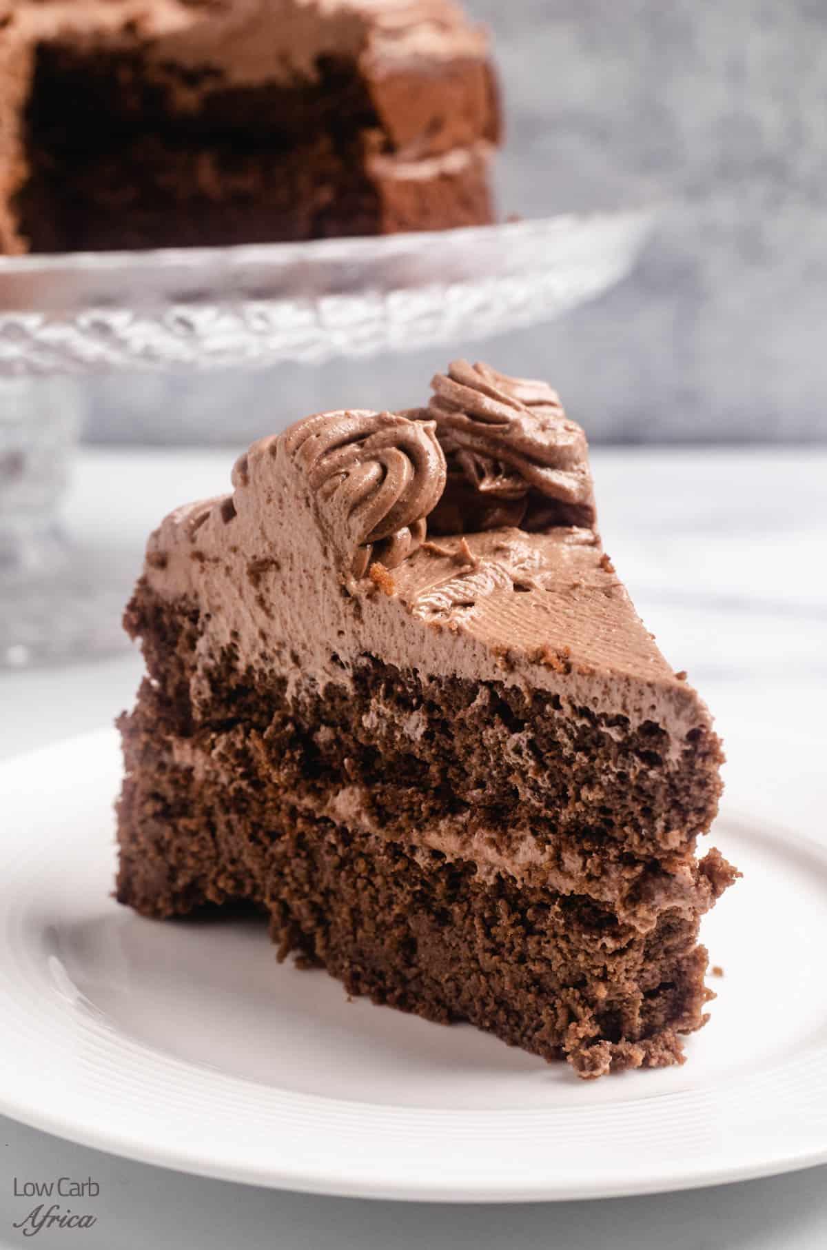 A slice of keto chocolate cake