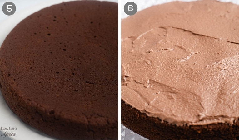before and after frosting a chocolate cake