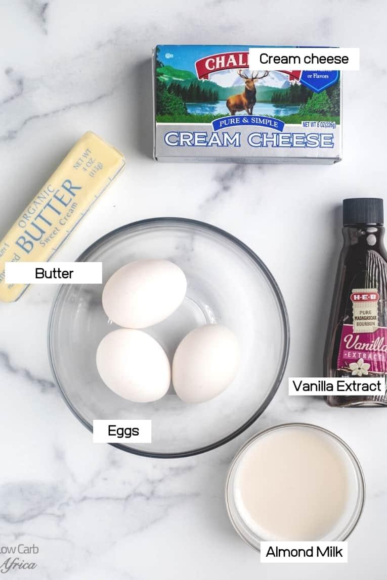 eggs, vanilla extract, butter