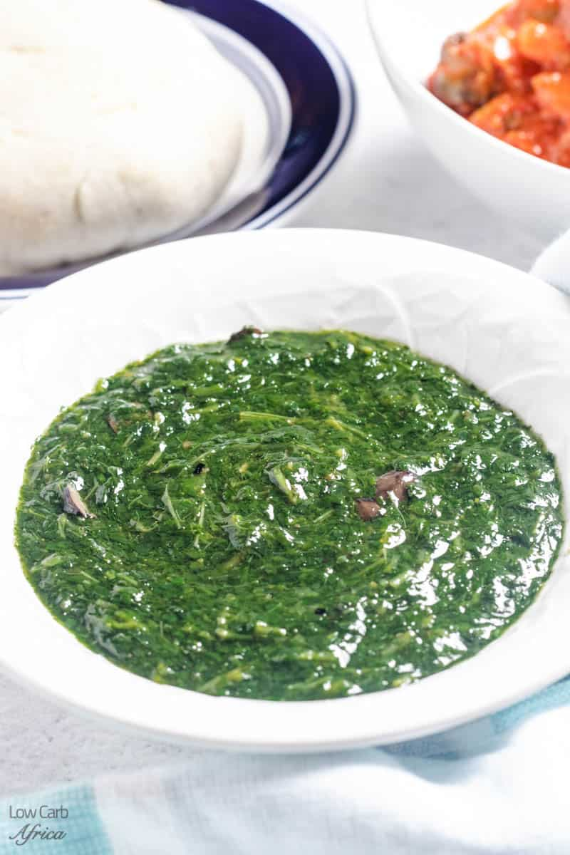 plate of jute leaves soup with fufu