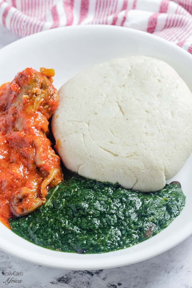 plate of keto fufu, stew and ewedu soup