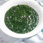 plate of African jute leaves soup (Ewedu soup)