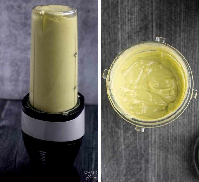 blender avocado in a blender