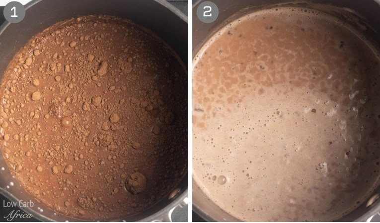 cooking keto chocolate on the stove