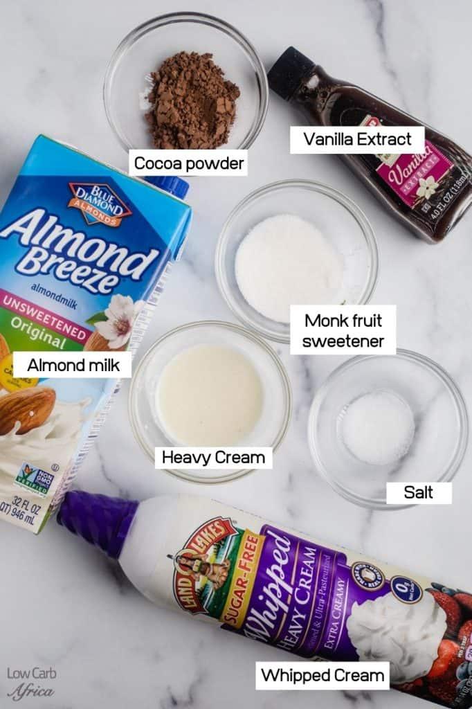 image of almond milk, monk fruit sweetener, heavy cream