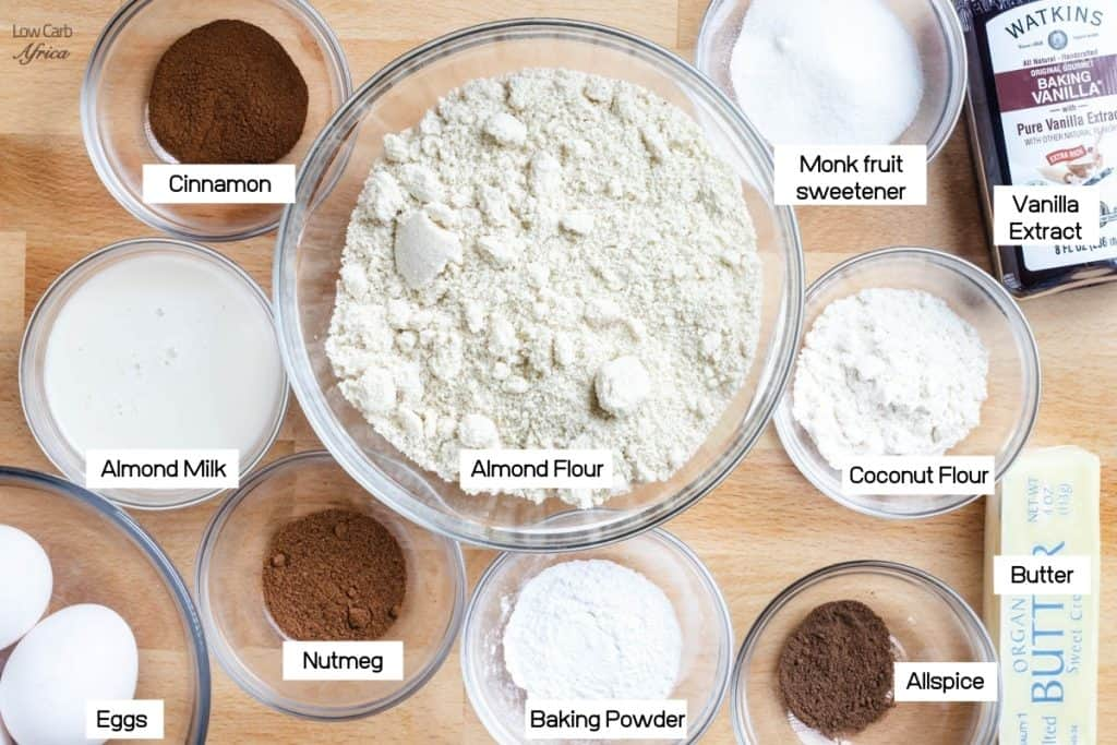 picture of almond flour, coconut flour, cinnamon, nutmeg and allspice
