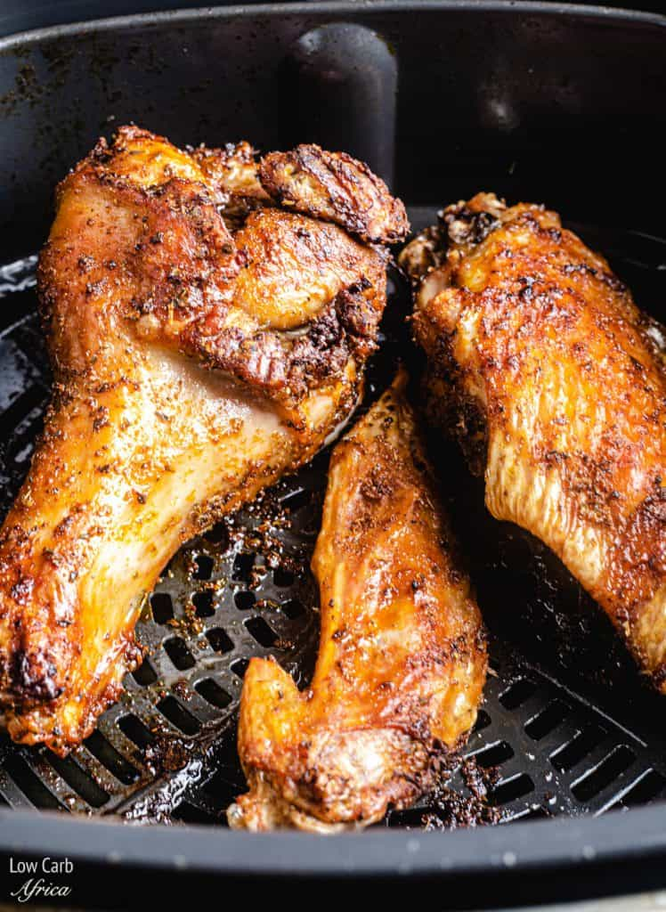 Turkey Wings placed in an air fryer