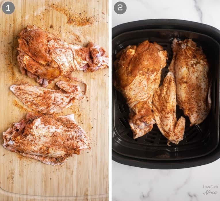 turkey with spices on it, placed in air fryer
