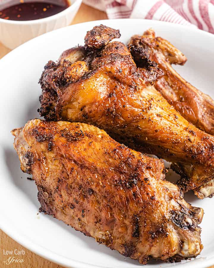 Air Fryer Turkey Wings on a white plate
