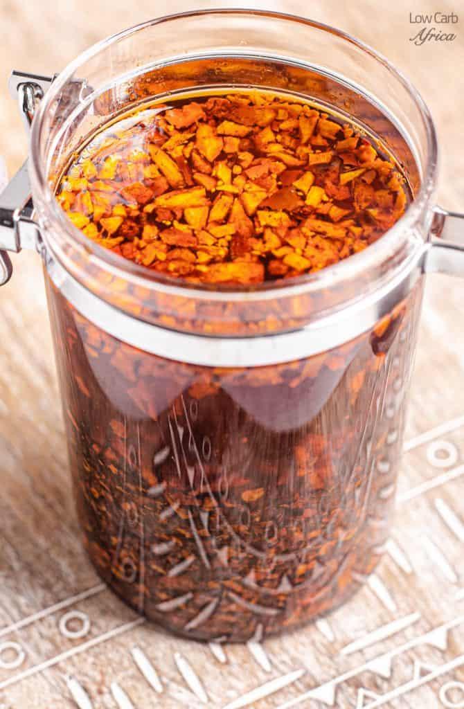 closeup of garlic chili oil