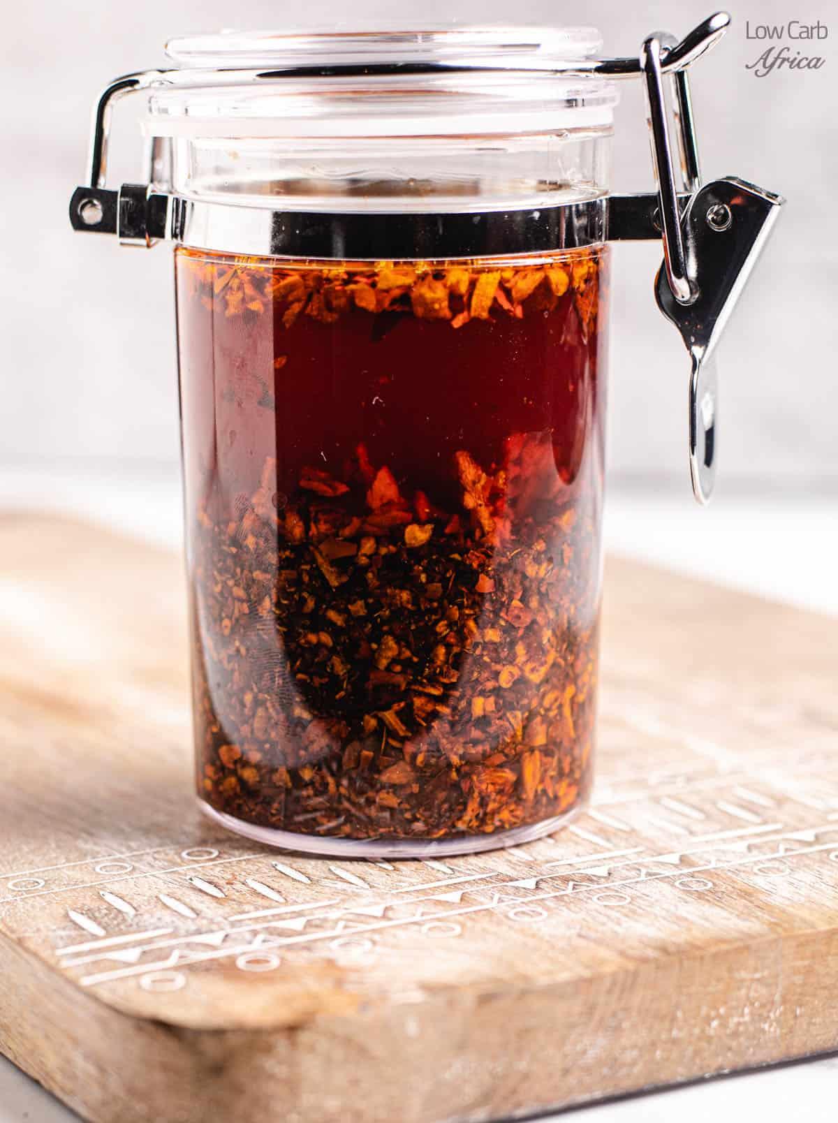 chili oil in a jar