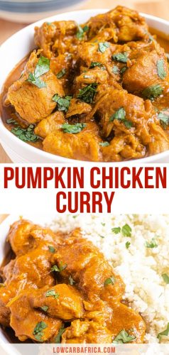 pinterest image of pumpkin chicken curry