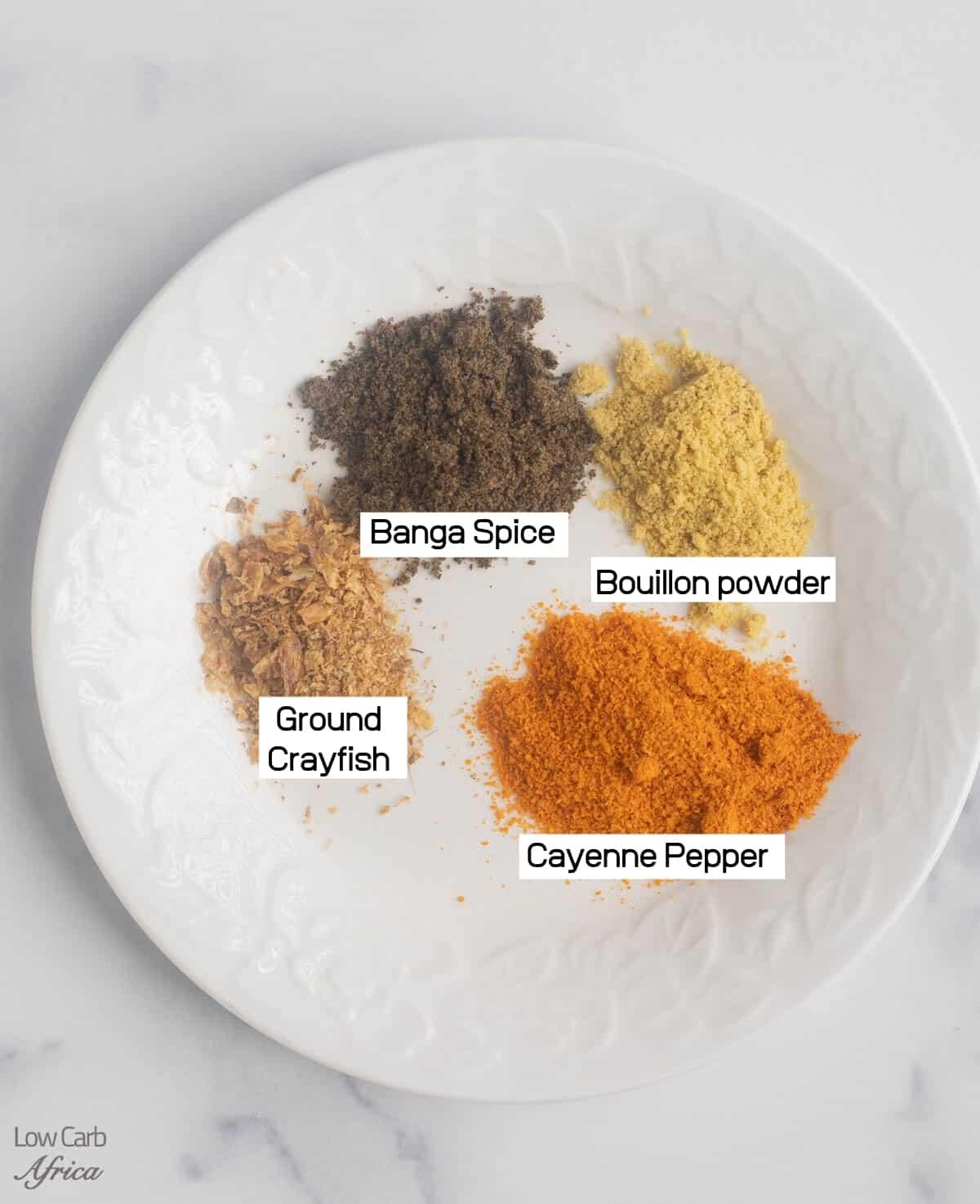 banga spice, cayenne pepper, ground crayfish