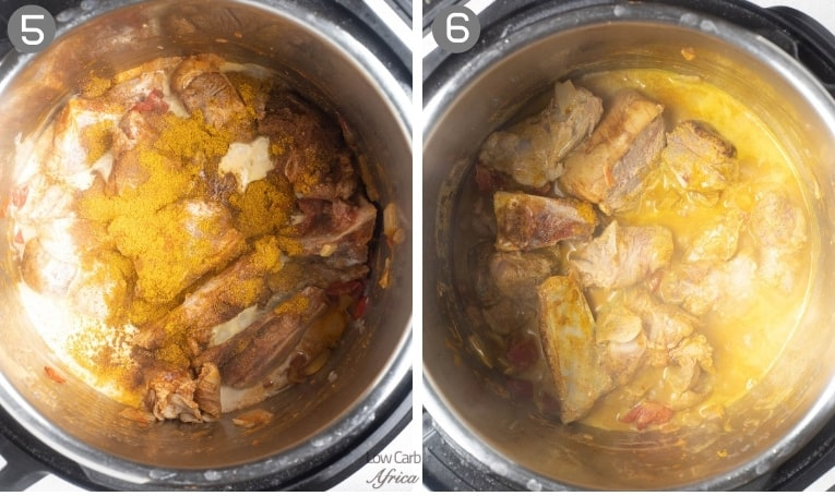 goat meat simmering in a curry broth