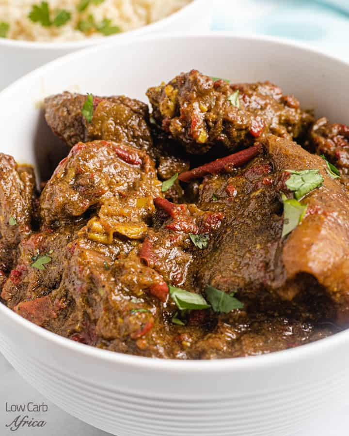 closeup image of goat curry recipe