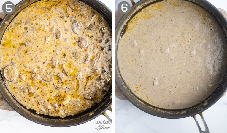 side by side images of mushroom soup cooking on the stove