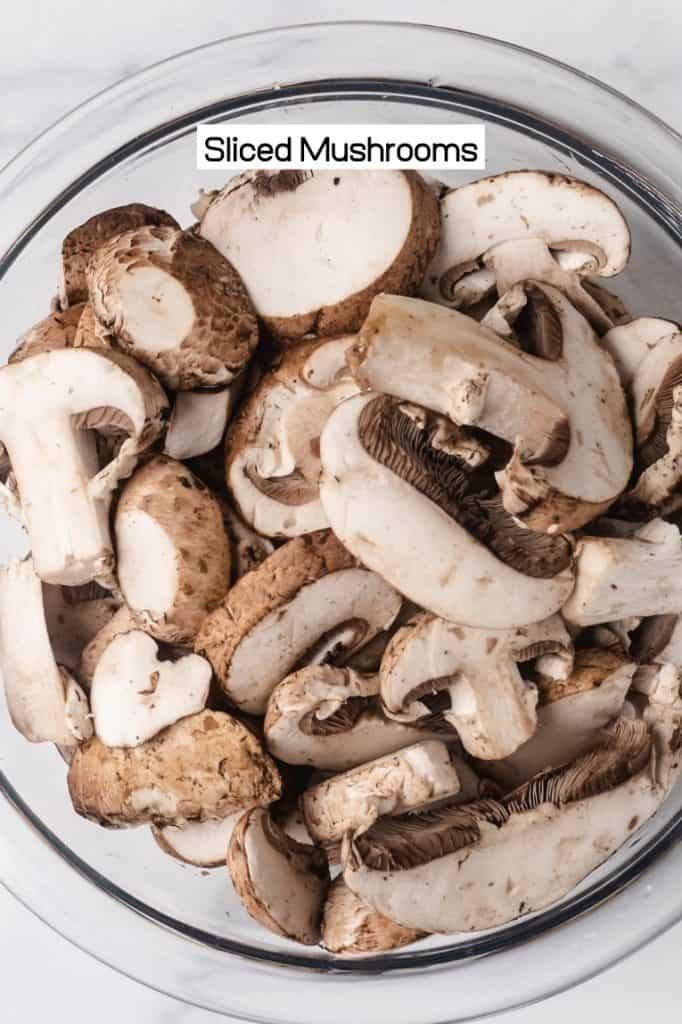 raw sliced mushrooms in a bowl