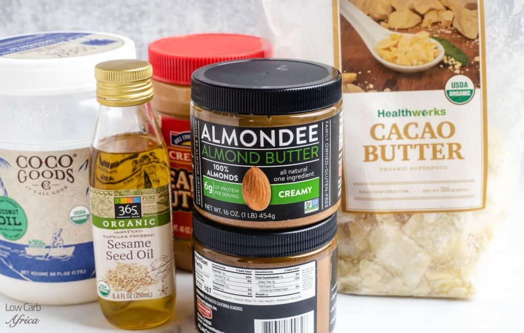 almond butter, cacao butter, sesame seed oil