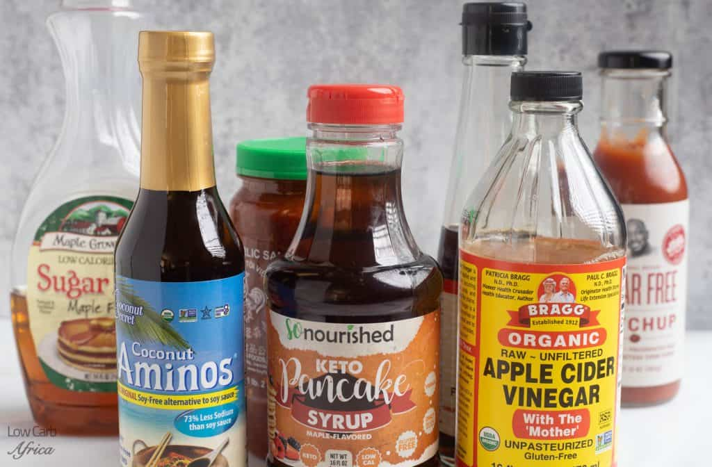 keto condiments, keto syrup, coconut aminos