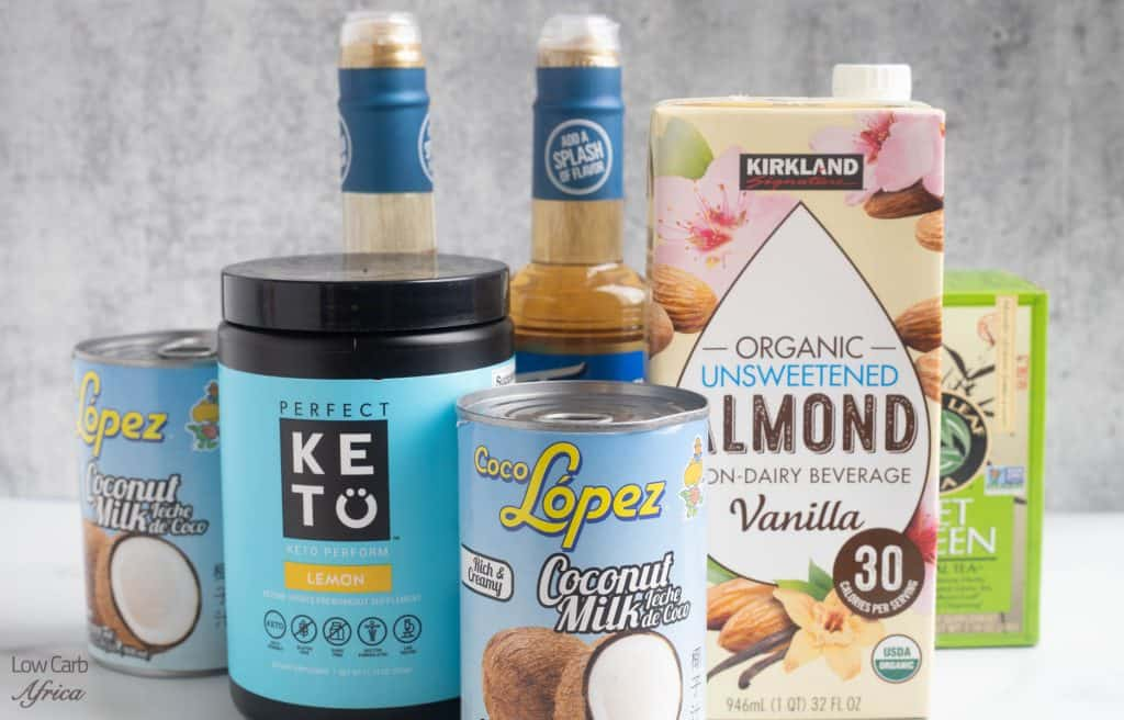 almond milk, protein powder, coconut milk