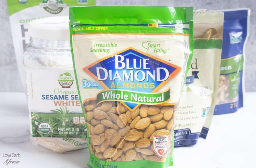 keto pantry staples, almonds, pecans