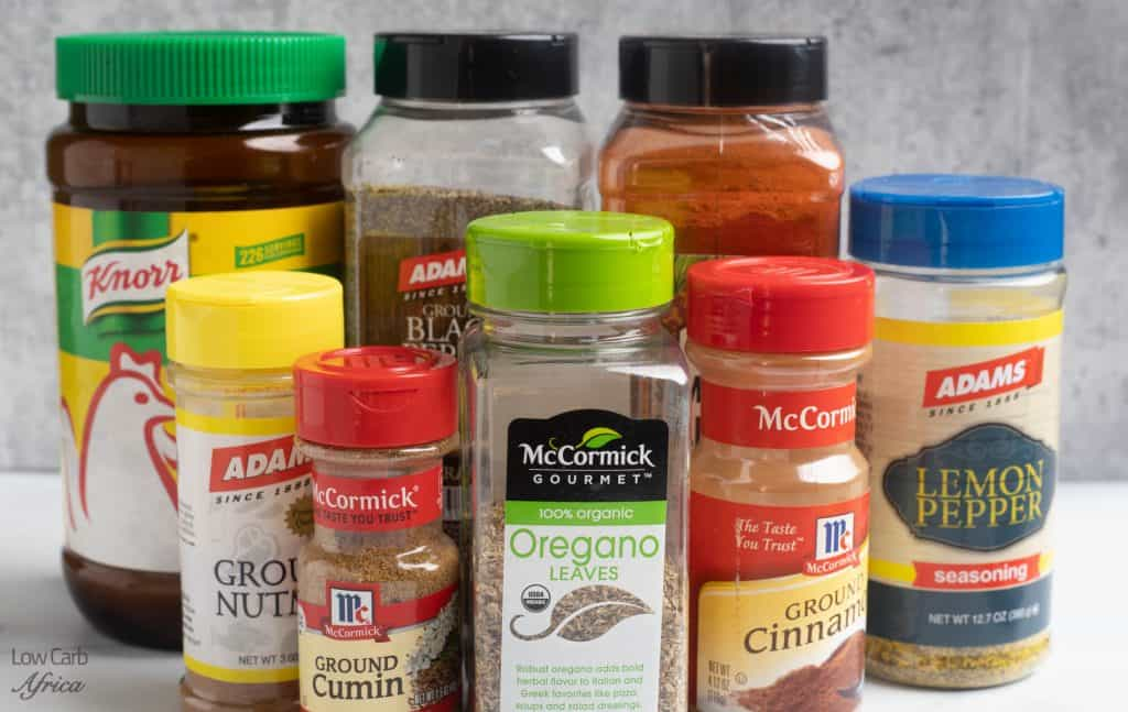 keto spices, bouillon, lemon pepper, smoked paprika, cumin