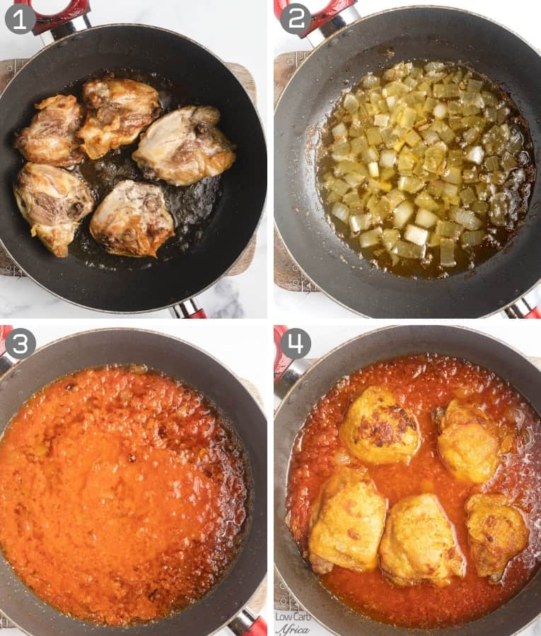step by step collage on how to make chicken stew