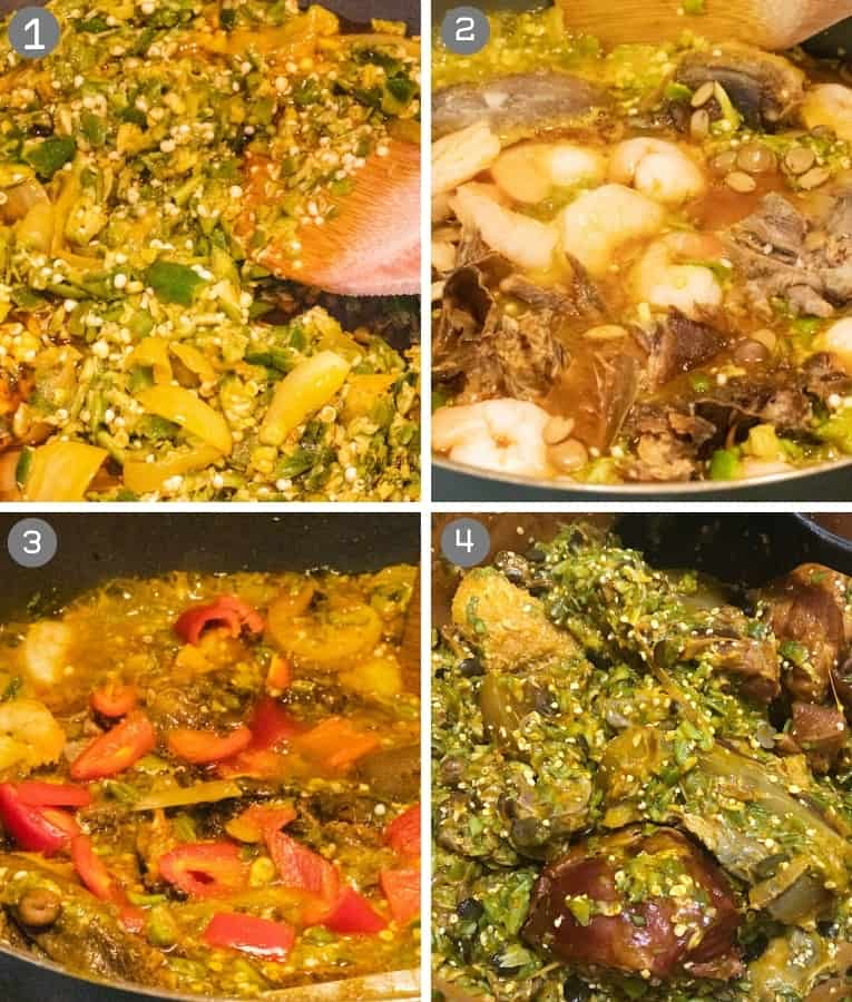 collage showing steps in preparing okro soup
