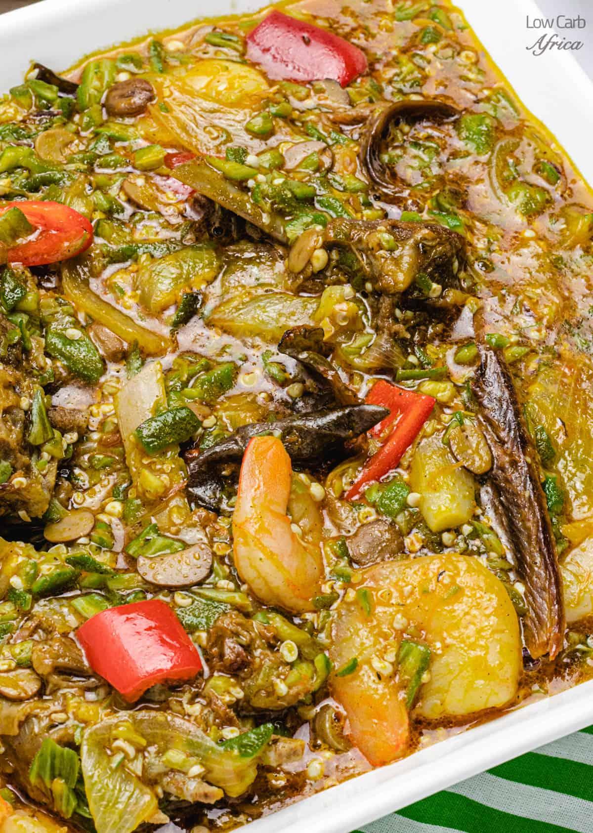 Bowl of Nigerian okra soup