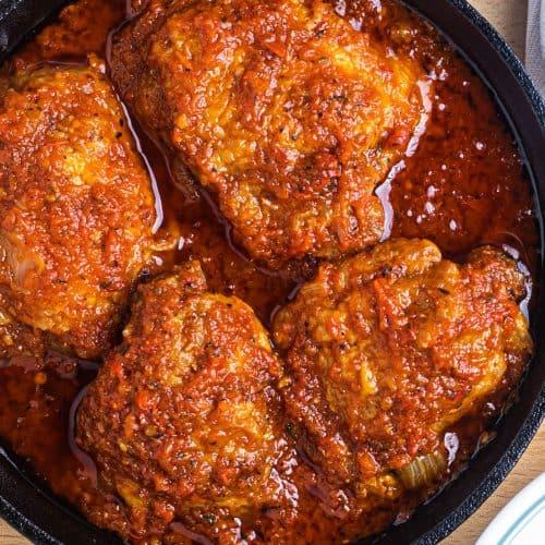 chicken stew in a skillet