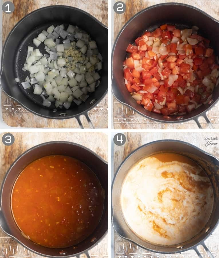 collage showing tomatoes making a soup