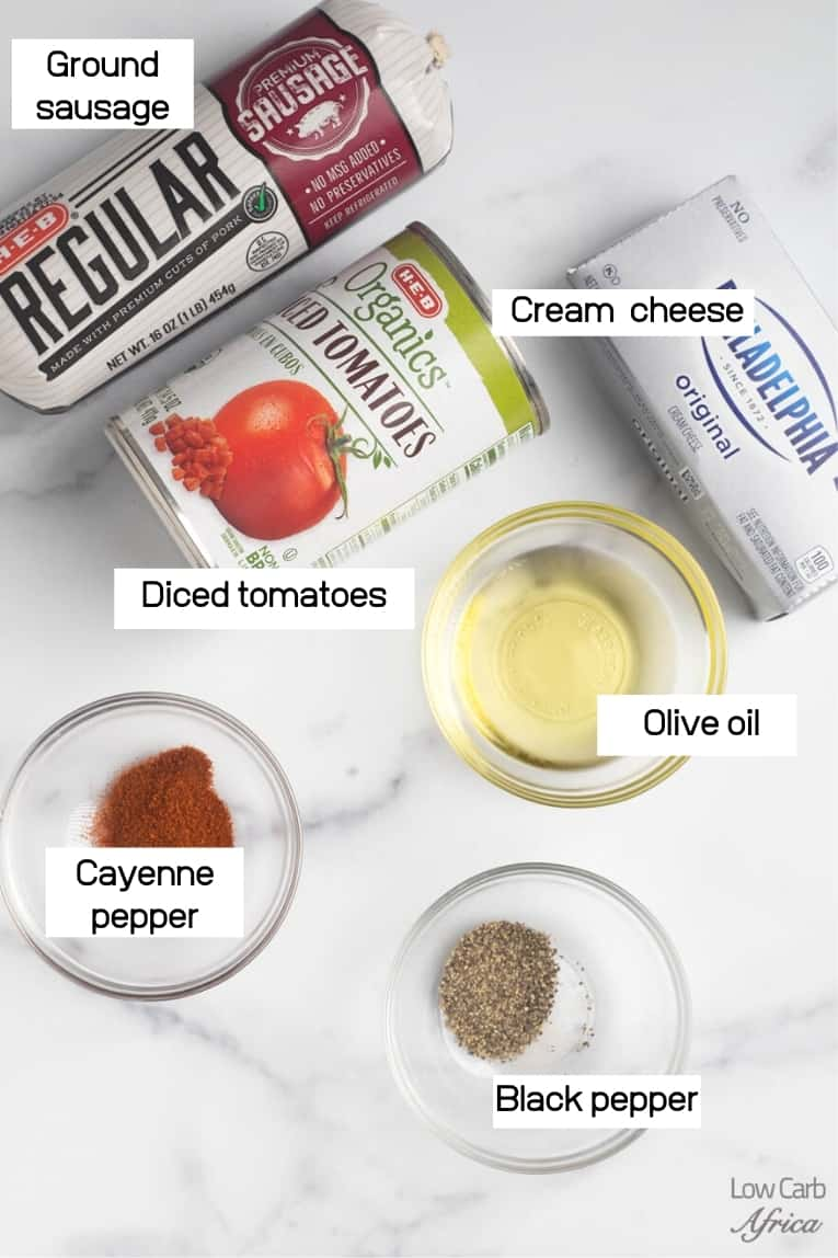 ingredients to make spicy sausage dip