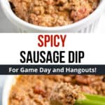 pinterest image for keto spicy sausage dip