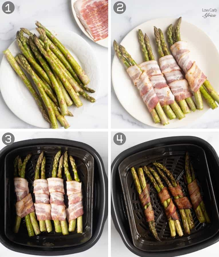 collage showing steps to make bacon asparagus