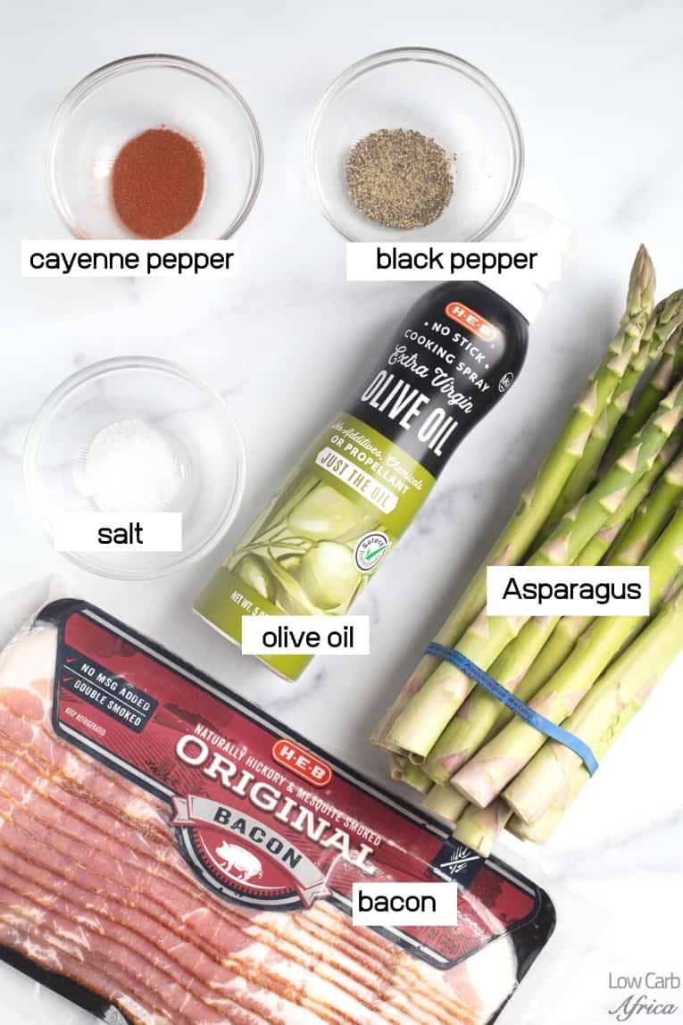 bacon, olive oil, asparagus, spices
