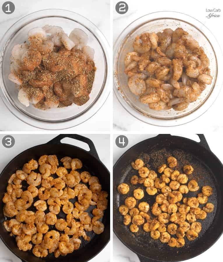 collage showing how to mix shrimps with spices