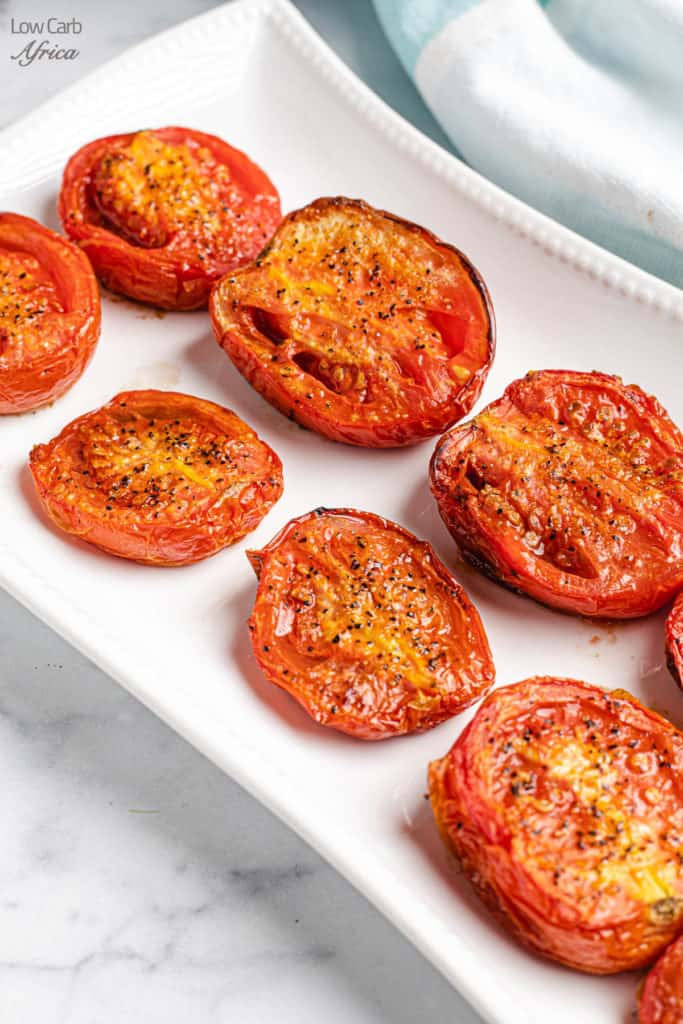 fire roasted tomatoes on a white platter