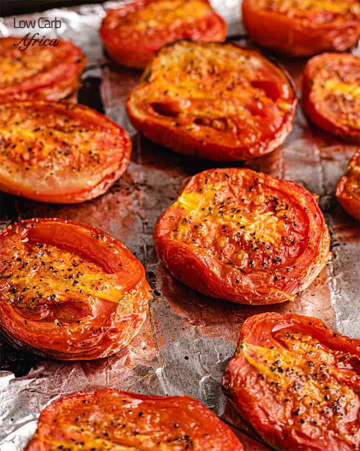 fire roasted tomatoes on a tray