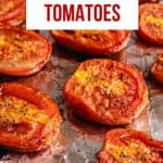 pinterest image showing fire roasted tomatoes