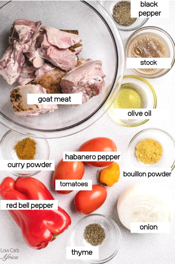 ingredients with goat meat, tomatoes, habanero pepper and spices