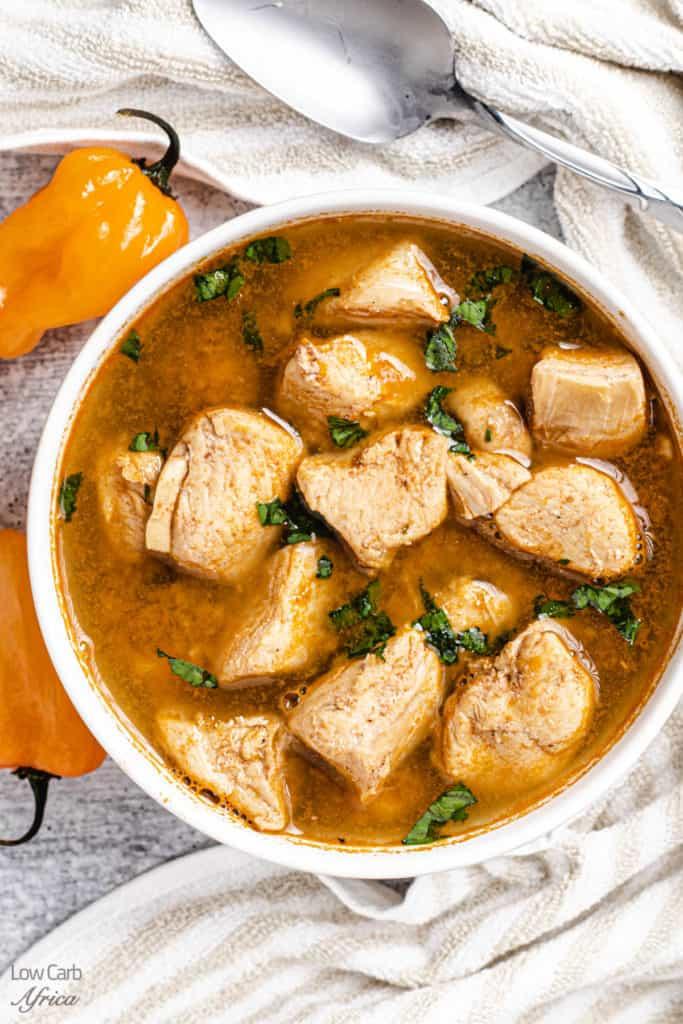 Nigerian chicken pepper soup close up