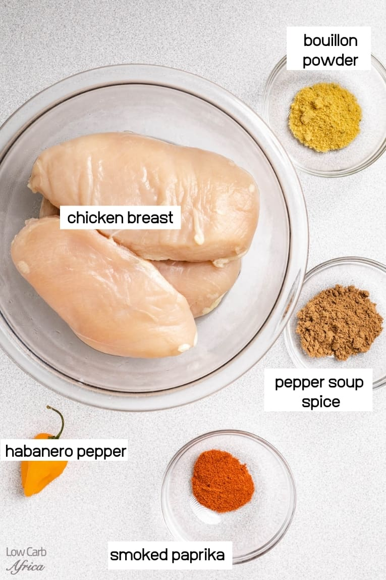 ingredients showing chicken breast and spices
