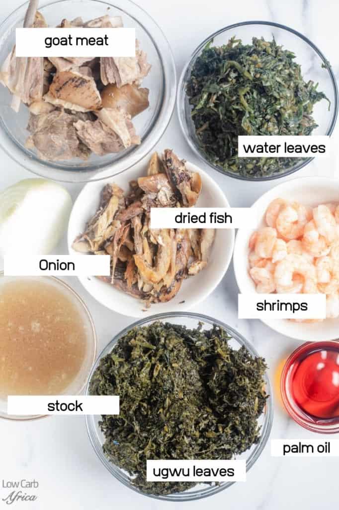 water leaf, ugwu leaves, goat meat