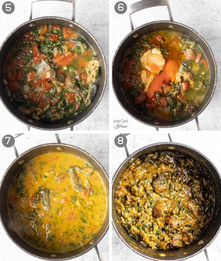collage showing steps to making congolese spinach stew