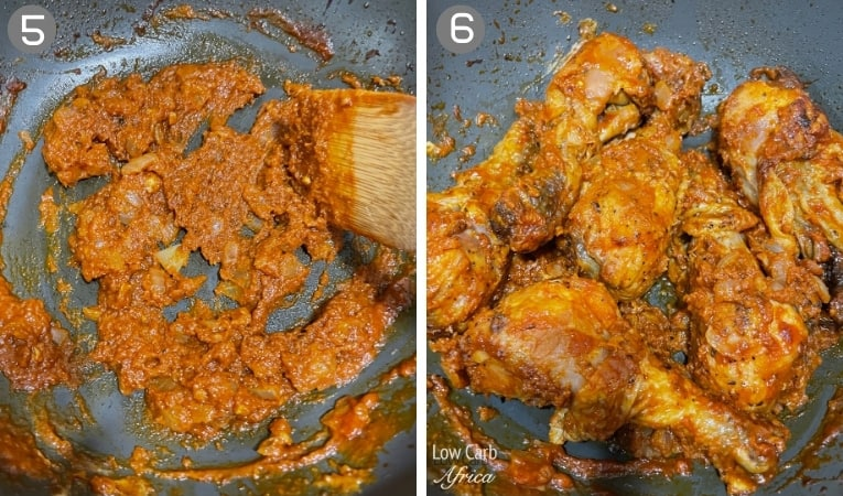 steps in making congo poulet moambe chicken