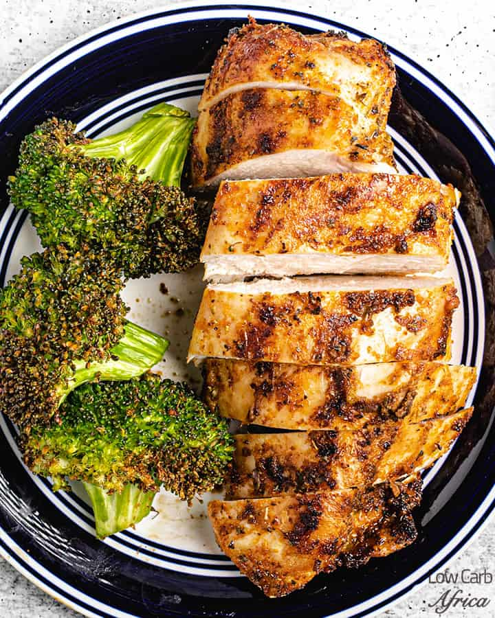 air fried chicken breast on a plate