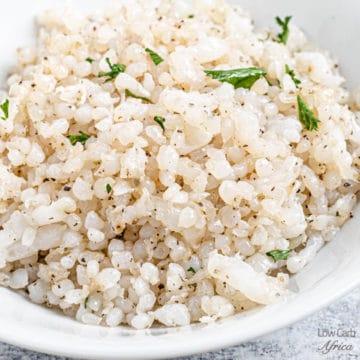 konjac rice on white bowl