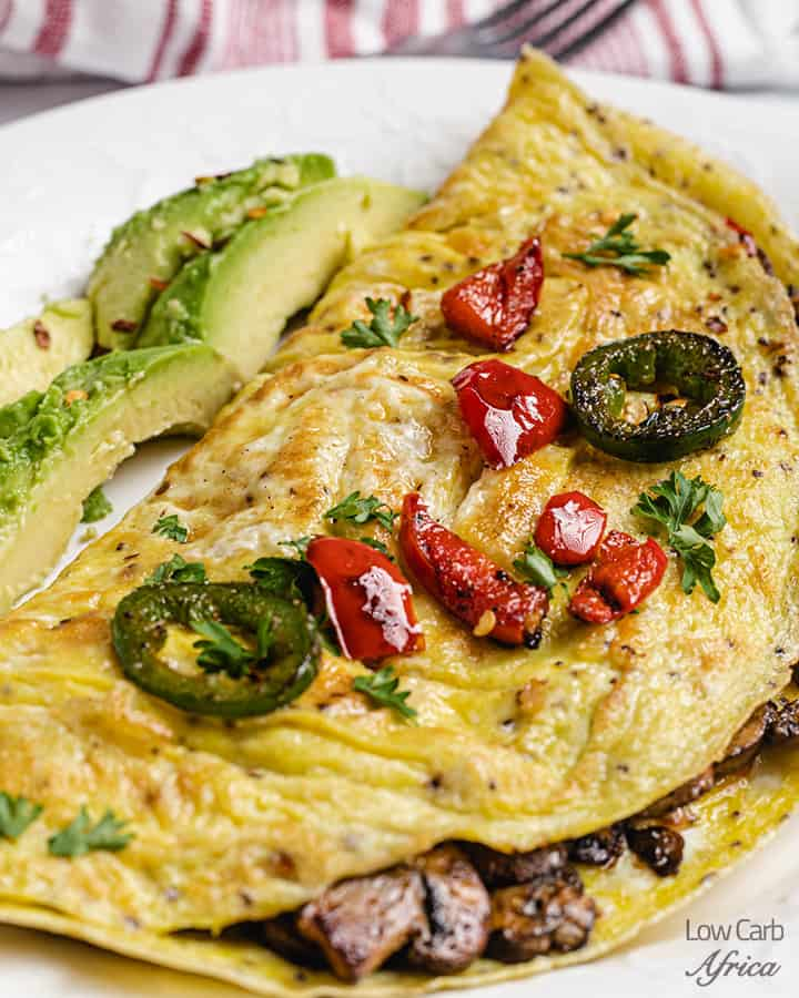 spicy omelette with mushroom filling